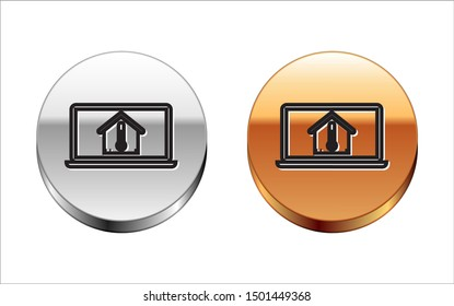 Black line Laptop with house temperature icon isolated on white background. Thermometer icon. Silver-gold circle button. Vector Illustration
