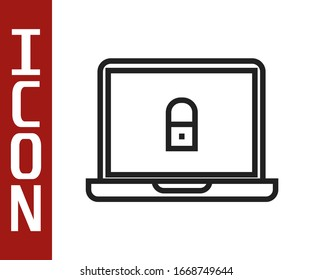 Black line Laptop and lock icon isolated on white background. Computer and padlock. Security, safety, protection concept. Safe internetwork.  Vector Illustration