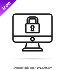 Black line Lock on computer monitor screen icon isolated on white background. Security, safety, protection concept. Safe internetwork.  Vector
