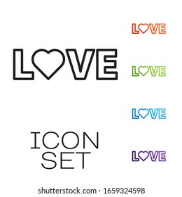 Black line Love text icon isolated on white background. Valentines day greeting card template. Set icons colorful. Vector Illustration