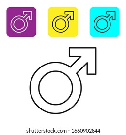 Black line Male gender symbol icon isolated on white background. Set icons colorful square buttons. Vector Illustration