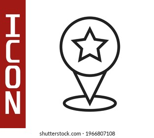 Black line Map pointer with star icon isolated on white background. Star favorite pin map icon. Map markers.  Vector