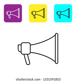 Black line Megaphone icon isolated on white background. Speaker sign. Set icons colorful square buttons. Vector Illustration