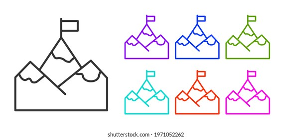 Black line Mountains with flag on top icon isolated on white background. Symbol of victory or success concept. Goal achievement. Set icons colorful. Vector
