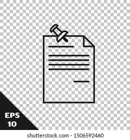 Black line Note paper with pinned pushbutton icon isolated on transparent background. Memo paper sign.  Vector Illustration