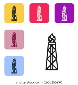 Black line Oil rig with fire icon isolated on white background. Gas tower. Industrial object. Set icons in color square buttons. Vector Illustration