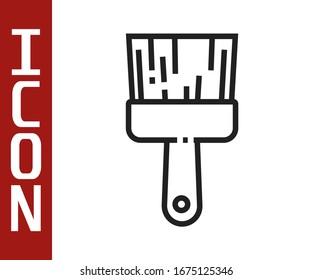 Black line Paint brush icon isolated on white background.  Vector Illustration