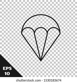 Black line Parachute icon isolated on transparent background. Extreme sport. Sport equipment.  Vector Illustration