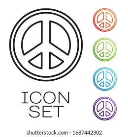 Black line Peace icon isolated on white background. Hippie symbol of peace. Set icons colorful. Vector Illustration