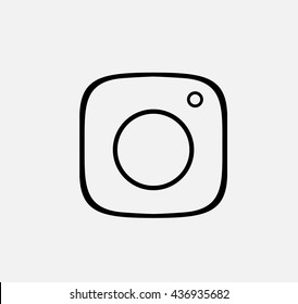 Black Line Photo Camera background Vector Logo, JPG, JPEG, EPS. Icon Button.instagram Flat Social insta Media Sign