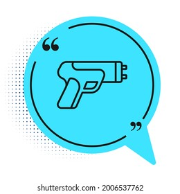 Black line Police electric shocker icon isolated on white background. Shocker for protection. Taser is an electric weapon. Blue speech bubble symbol. Vector