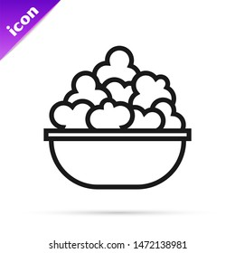 Black line Popcorn in bowl icon isolated on white background. Popcorn bucket box.  Vector Illustration