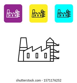 Black line Power station plant and factory icon isolated on white background. Energy industrial concept. Set icons colorful square buttons. Vector Illustration
