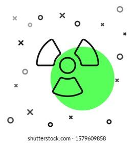 Black line Radioactive icon isolated on white background. Radioactive toxic symbol. Radiation Hazard sign.  Vector Illustration
