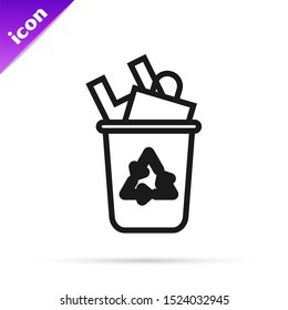 Black line Recycle bin with recycle symbol icon isolated on white background. Trash can icon. Garbage bin sign. Recycle basket sign.  Vector Illustration