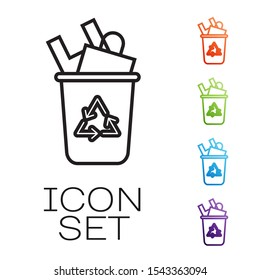 Black line Recycle bin with recycle symbol icon isolated on white background. Trash can icon. Garbage bin sign. Recycle basket sign. Set icons colorful. Vector Illustration