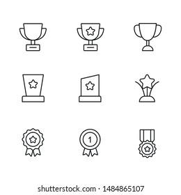 Black line reward icon for design