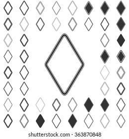 Black line rhombus logo icon design set