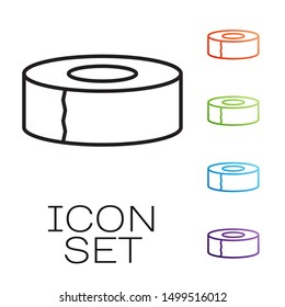 Black line Scotch icon isolated on white background. Roll of adhesive tape for work and repair. Sticky packing tape. Office tool and stuff. Set icons colorful. Vector Illustration