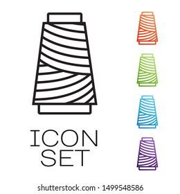 Black line Sewing thread on spool icon isolated on white background. Yarn spool. Thread bobbin. Set icons colorful. Vector Illustration