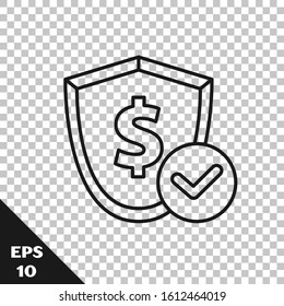 Black line Shield with dollar symbol icon isolated on transparent background. Security shield protection. Money security concept.  Vector Illustration
