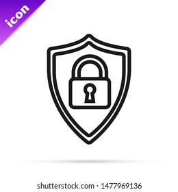 Black line Shield security with lock icon isolated on white background. Protection, safety, password security. Firewall access privacy sign.  Vector Illustration