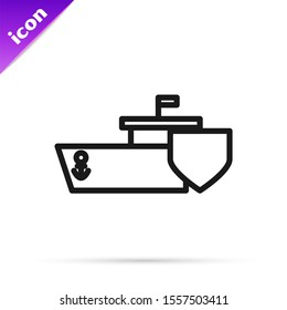 Black line Ship with shield icon isolated on white background. Insurance concept. Security, safety, protection, protect concept.  Vector Illustration