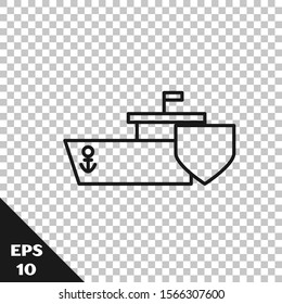 Black line Ship with shield icon isolated on transparent background. Insurance concept. Security, safety, protection, protect concept.  Vector Illustration