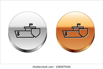 Black line Ship with shield icon isolated on white background. Insurance concept. Security, safety, protection, protect concept. Silver-gold circle button. Vector Illustration