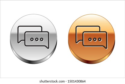 Black line Speech bubble chat icon isolated on white background. Message icon. Communication or comment chat symbol. Silver-gold circle button. Vector Illustration