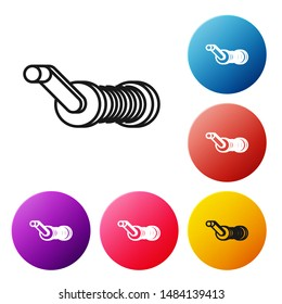 Black line Spinning reel for fishing icon isolated on white background. Fishing coil. Fishing tackle. Set icons colorful circle buttons. Vector Illustration