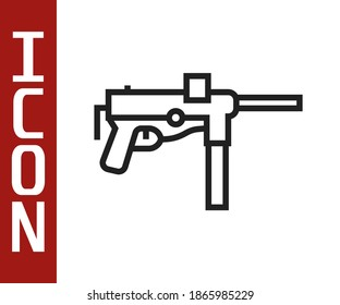 Black line Submachine gun M3, Grease gun icon isolated on white background. Vector