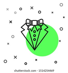 Black line Suit icon isolated on white background. Tuxedo. Wedding suits with necktie.  Vector Illustration