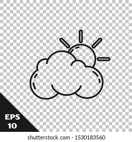 Black line Sun and cloud weather icon isolated on transparent background.  Vector Illustration