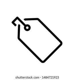 Black line tag icon for design