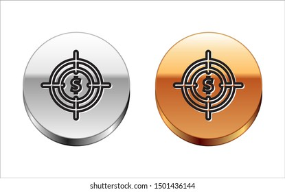 Black line Target with dollar symbol icon isolated on white background. Investment target icon. Successful business concept. Cash or Money sign. Silver-gold circle button. Vector Illustration