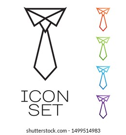 Black line Tie icon isolated on white background. Necktie and neckcloth symbol. Set icons colorful. Vector Illustration