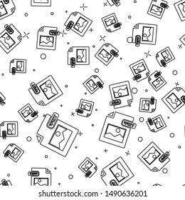 Black line TIFF file document. Download tiff button icon isolated seamless pattern on white background. TIFF file symbol.  Vector Illustration