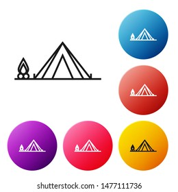 Black line Tourist tent with wood fire icon isolated on white background. Camping symbol. Set icons colorful circle buttons. Vector Illustration