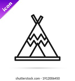 Black line Traditional indian teepee or wigwam icon isolated on white background. Indian tent.  Vector