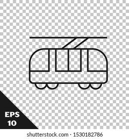 Black line Tram and railway icon isolated on transparent background. Public transportation symbol.  Vector Illustration