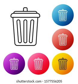 Black line Trash can icon isolated on white background. Garbage bin sign. Recycle basket icon. Office trash icon. Set icons colorful circle buttons. Vector Illustration