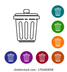 Black line Trash can icon isolated on white background. Garbage bin sign. Recycle basket icon. Office trash icon. Set icons in color circle buttons. Vector Illustration