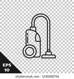 Black line Vacuum cleaner icon isolated on transparent background.  Vector Illustration