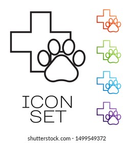 Black line Veterinary clinic symbol icon isolated on white background. Cross hospital sign. A stylized paw print dog or cat. Pet First Aid sign. Set icons colorful. Vector Illustration