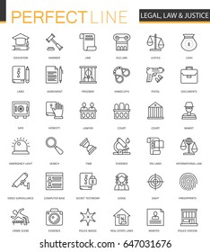 Black line web Law and justice icons set.