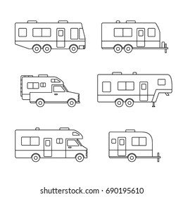 Black linear auto RVs, Camper cars / Camping vans, Truck Trailers, recreational types vehicles vector flat design icons, retro clipart isolated on white background