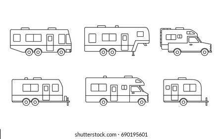 Black linear group of auto RVs, Camper vans / Camping cars, Truck Trailers, recreational vehicles vector icons, retro clipart isolated on white background