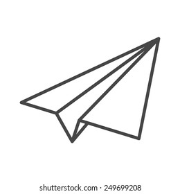 black linear paper plane icon