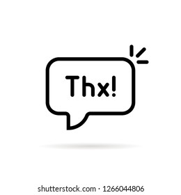 black linear thx speech bubble. flat stroke style trend modern simple logotype graphic art design element isolated on white. concept of thankfulness popup message for chatting or small talk badge